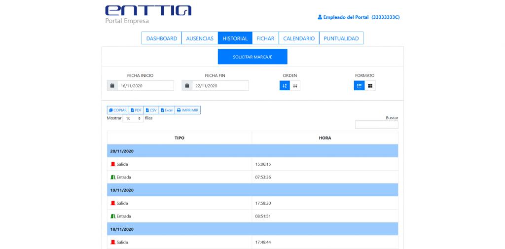 Página de historial de marcajes del Portal Web